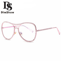 Dimshow Sunglasses Women Decorative Rhinestone Brand Designer Copper Frame Mirror Lens Double Bridge Sun Glasses With