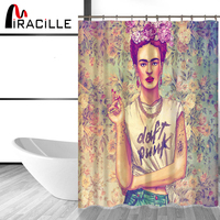 Miracille Frida Kahlo Printed Bath Shower Curtains With Waterproof Polyester Fabric WashingRoom Curtains With 12 Hooks
