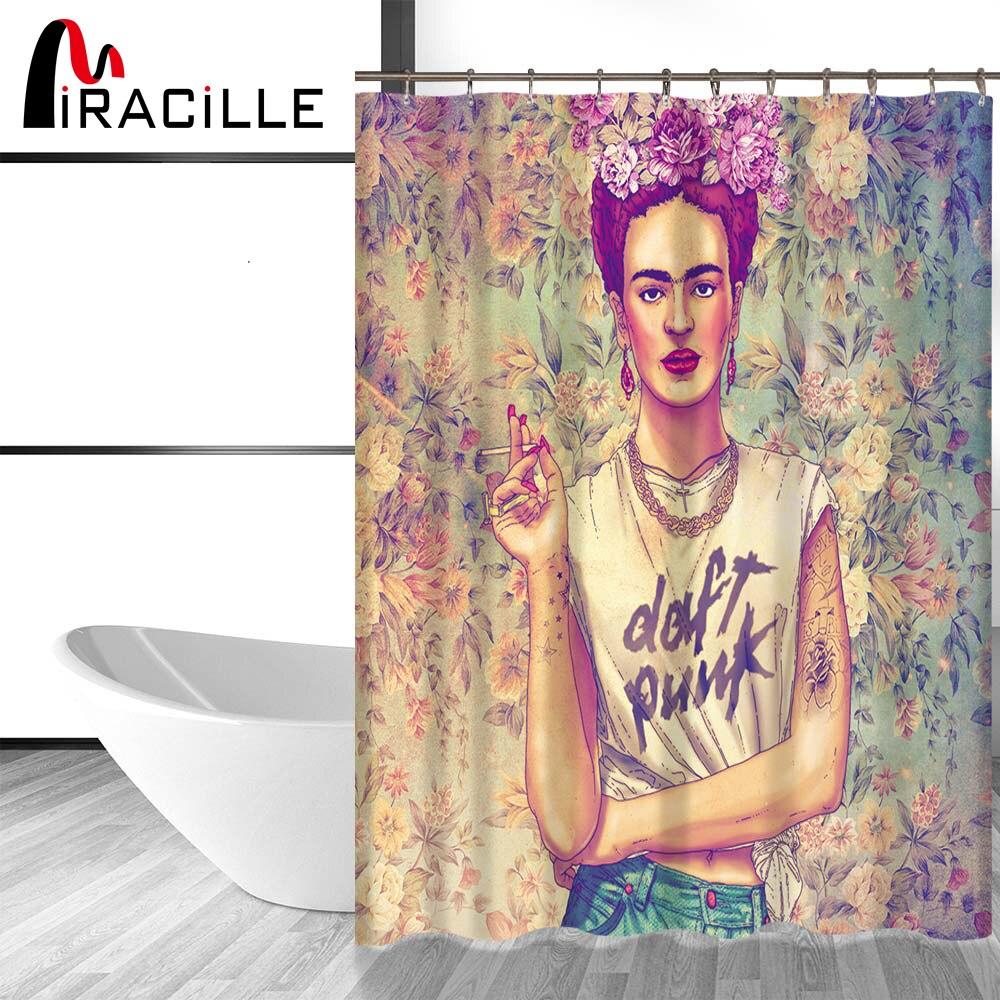miracille frida kahlo gedruckt bad dusche vorhnge mit wasserdichtem polyester stoff vorhang fr das bad mit 12 haken 2 gre in miracille frida kahlo - Stoff Vorhang Dusche