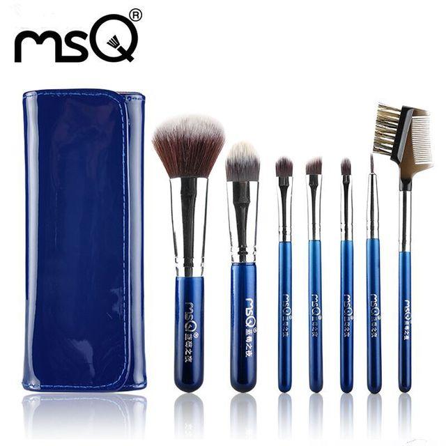 Msq profesional 7 unids viajes cepillos del maquillaje suave de pelo sintético de alta calidad de la pu funda de piel para la belleza de la moda