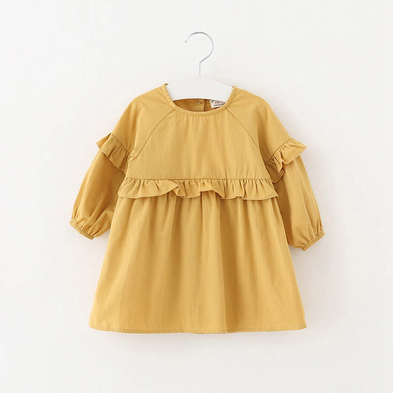 Children dress for girl 3colors solid girl clothes 1 2 3 4 baby girls dress longsleeve cotton toddler girls princess dress child bibicola cartoon children jeans dress baby girls cotton leisure overalls dress fashion toddler girl denim dress for summer