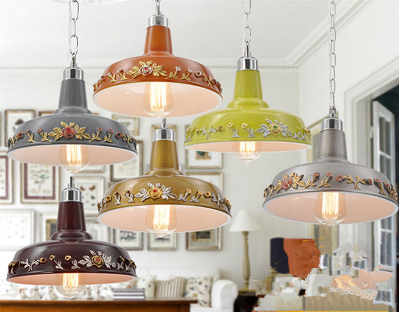 Modern Chinese Style Resin Pendant Light 6color Engraved Flowers Vintage Brief Foyer Dining Room Lighting Lamp