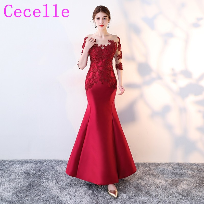 2019 Mermaid Red Sleeves Satin Long   Bridesmaid     Dresses   With Sheer Sleeves Lace Appliques Formal Country Wedding Party   Dress