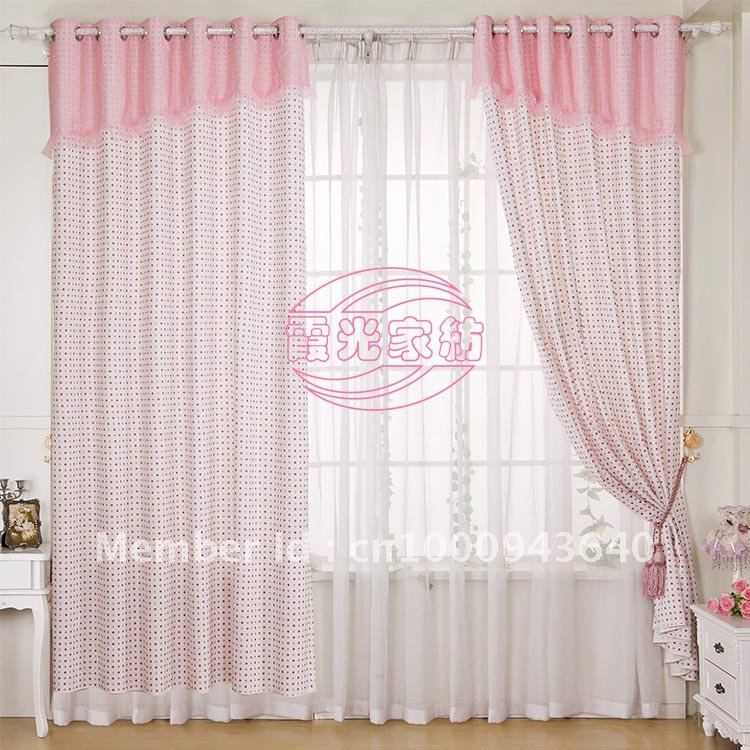 1109 romantic white blue dot curtains modern minimalist boy girl bedroom in curtains from - White bedroom with flowing curtains ...