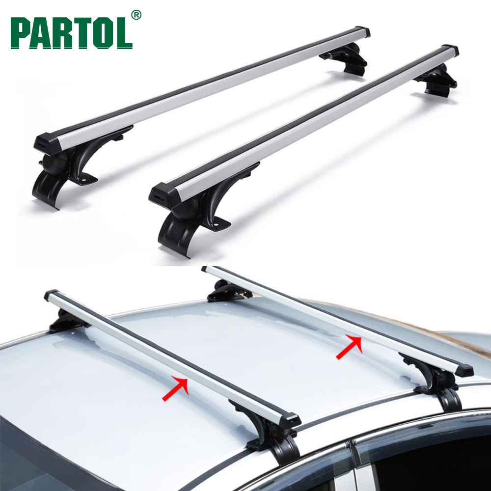 "Partol Universal 47"" <font><b>Car</b></font> Roof Rack Cross Bars Crossbars Aluminum 68 kg/150LBS Cargo Basket Carrier Bike Rack Top Fit Normal Roof"