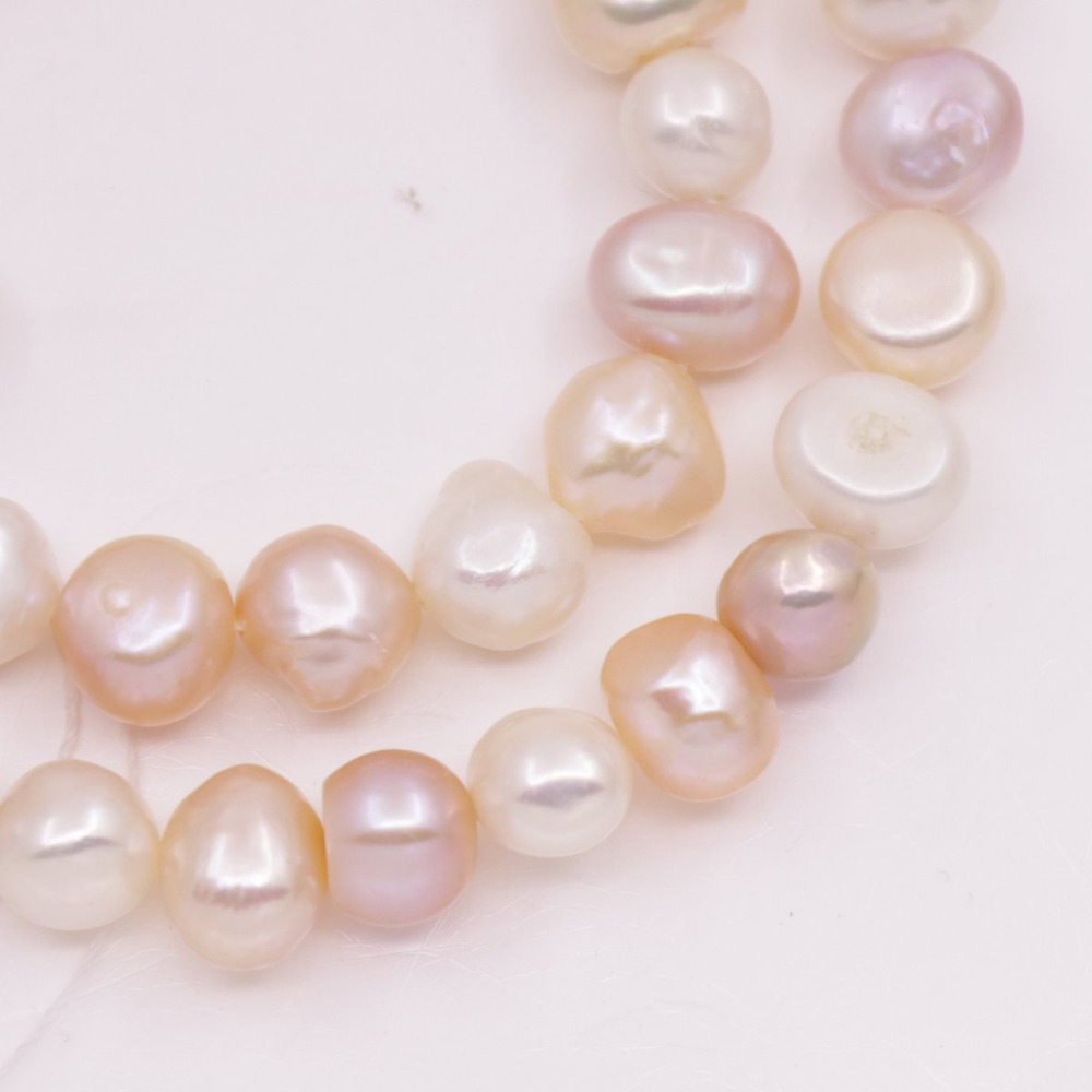 Купить с кэшбэком 8mm-9mm Baroque Natural Loose Pearl Strand White Pink Lilac  Crafts 15""