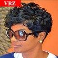 Пикси Короткие Вьющиеся Человеческих Волос парики для чернокожих Женщин Вьющиеся Бесклеевой полный Шнурок Человеческих Волос Парики Вьющиеся Машина Сделала Бразильские Волосы Парик