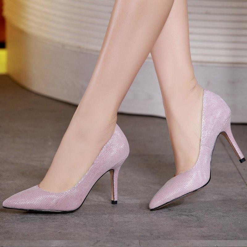 Mariage Femmes 2018 En Peau S Grande Cuir rose Chaussures De Femelle Super Automne Mouton blanc Marée Simples Stiletto Taille Haute gris Noir Talon Pointu rq8HrTzwZ