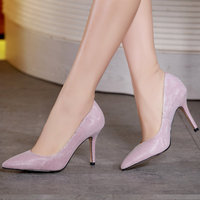 2018 autumn large size pointed single shoes female tide sheepskin super high heel women's shoes stiletto leather wedding shoes s