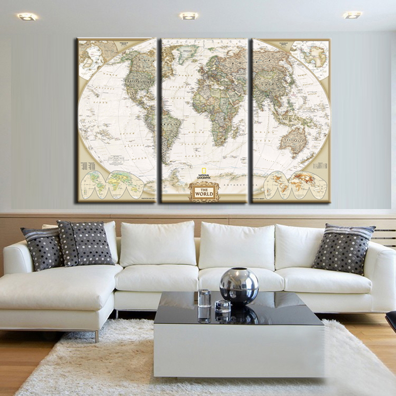 3 stykker billede lærred væg kunst Old Map of the World lærred Udskriv World Map plakat væg indretning til Home Office Living Room