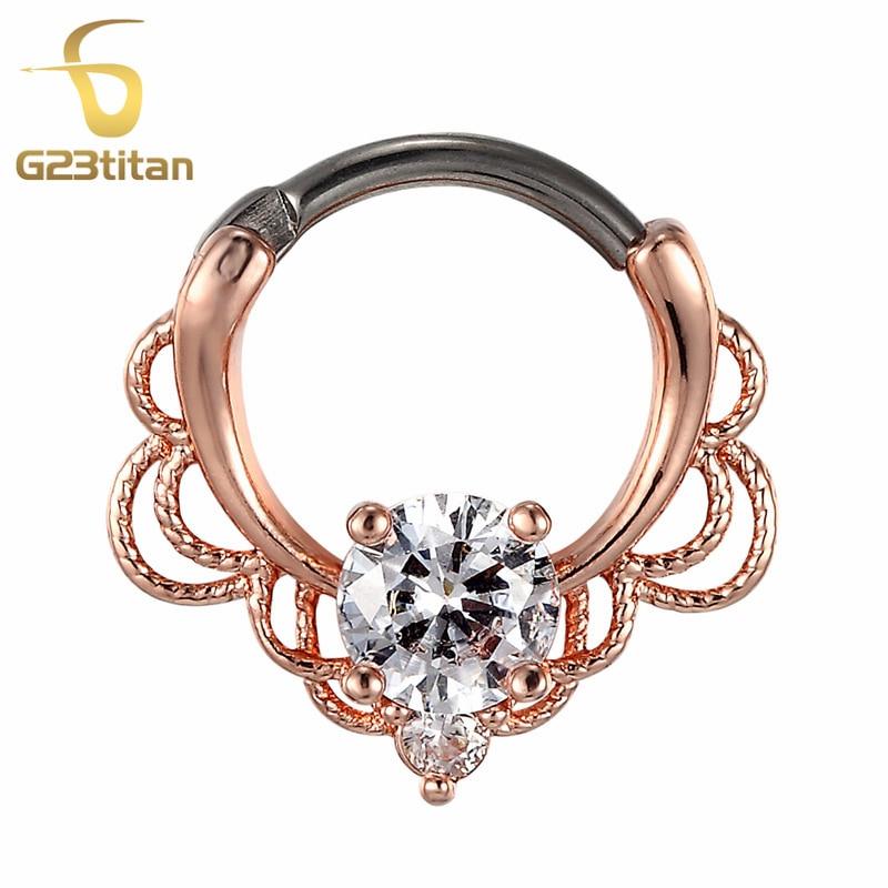 G23titan CZ Prstenje za nos Septum Clicker 16G G23 Titanium Poljski - Modni nakit - Foto 5