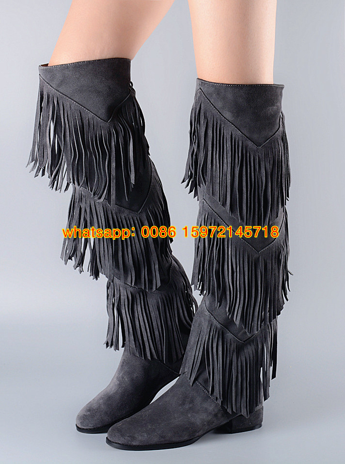 Aliexpress.com : Buy New style women Western knee boots Tan grey ...