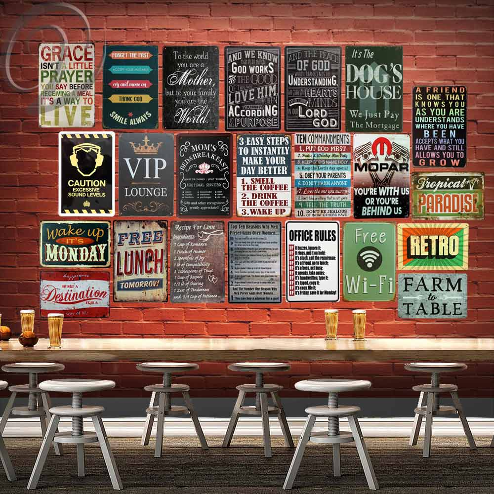 VIP Retro Metal Poster Home Wall Decor Sticker Bar Coffee ... on Home Wall Decor Signs id=72905