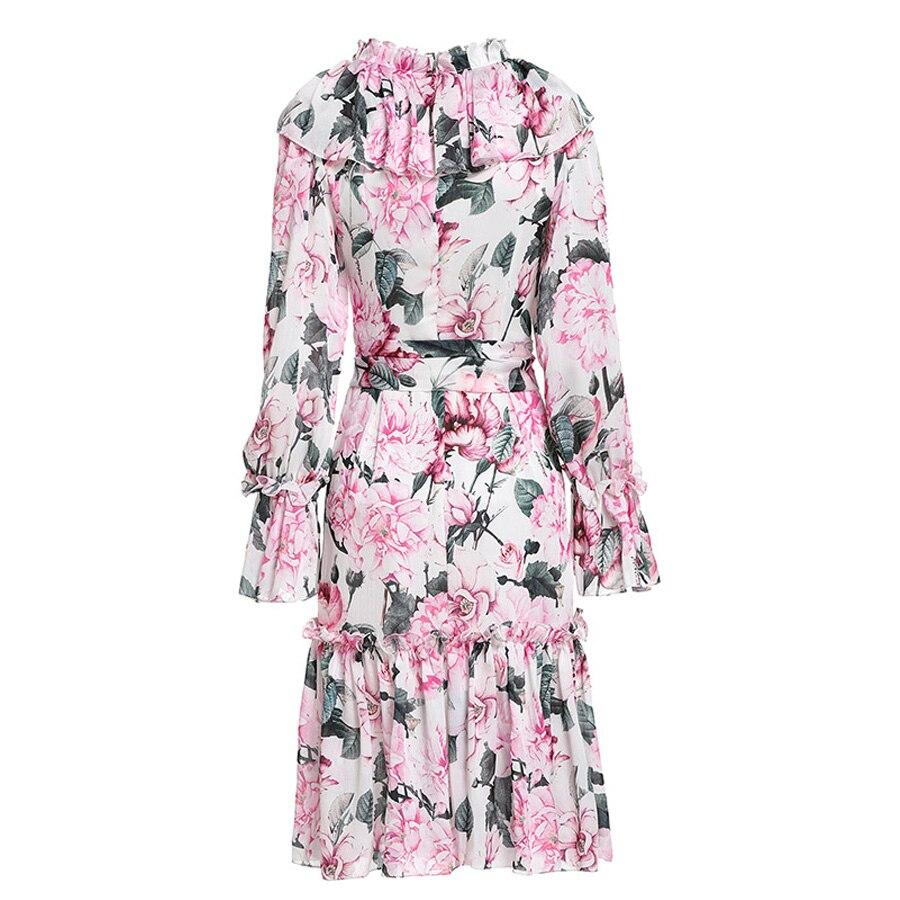 AELESEEN piwonia wydrukowano letnia sukienka luksusowe Runway 2019 wysokiej jakości moda Flare rękawem kwiat Ruffles pas elegancka sukienka w Suknie od Odzież damska na  Grupa 2