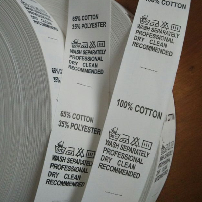 500PCS , Stock Sale White Care Label Nylon Coated Tape Print Washing Tag Cotton/Polyester