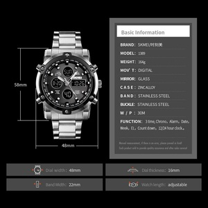 Image 4 - SKMEI Digital Watch Men Fashion Mens Watches Full Steel Business Mens Watch Luxury Male Clock Top Sports Watches Reloj Hombre