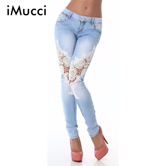 New Sexy High Waist Skinny Jeans Woman Lace Patchwork Zipper Fly Cotton Long Jeans Women Casual Light Blue Plus Size Jean Femme