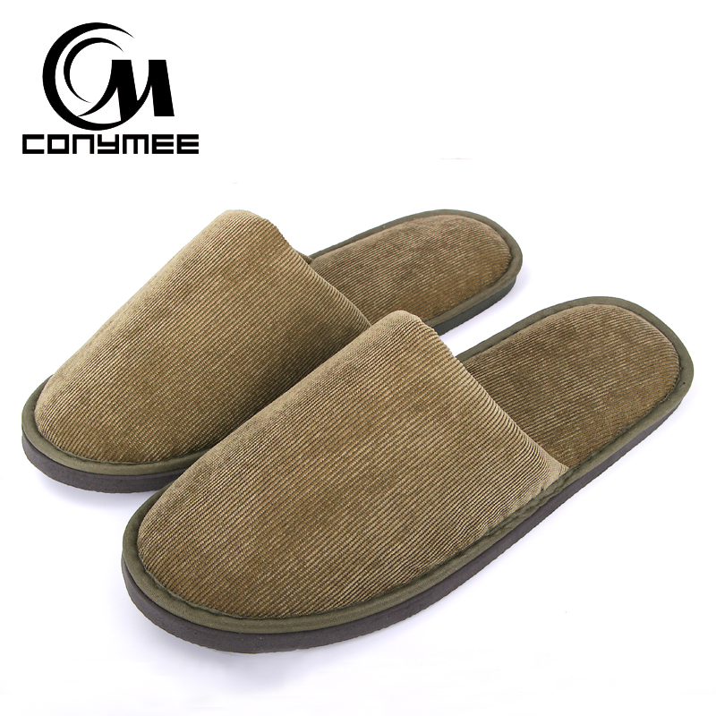 CONYMEE Men's Sneakers 2018 New Home Slippers Casual Shoes For Men/Women Hotel Travel Slipper Pantufas Corduroy Soft Floor Shoe