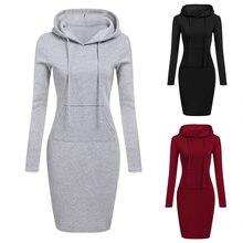 bcbb988d6c747c Winter Kleid Frauen Vestidos Hoodies Sweatshirt Kleid 2018 Mode Mit Kapuze  Kordelzug Volle Hülsen Vliese Frauen Kleider Plus Grö..