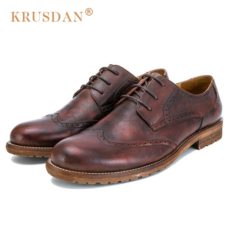 KRUSDAN British Style Platform Brogue Man Formal Dress Shoes Genuine Leather Handmade Oxfords Round Toe Men's Classic Flats OQ71