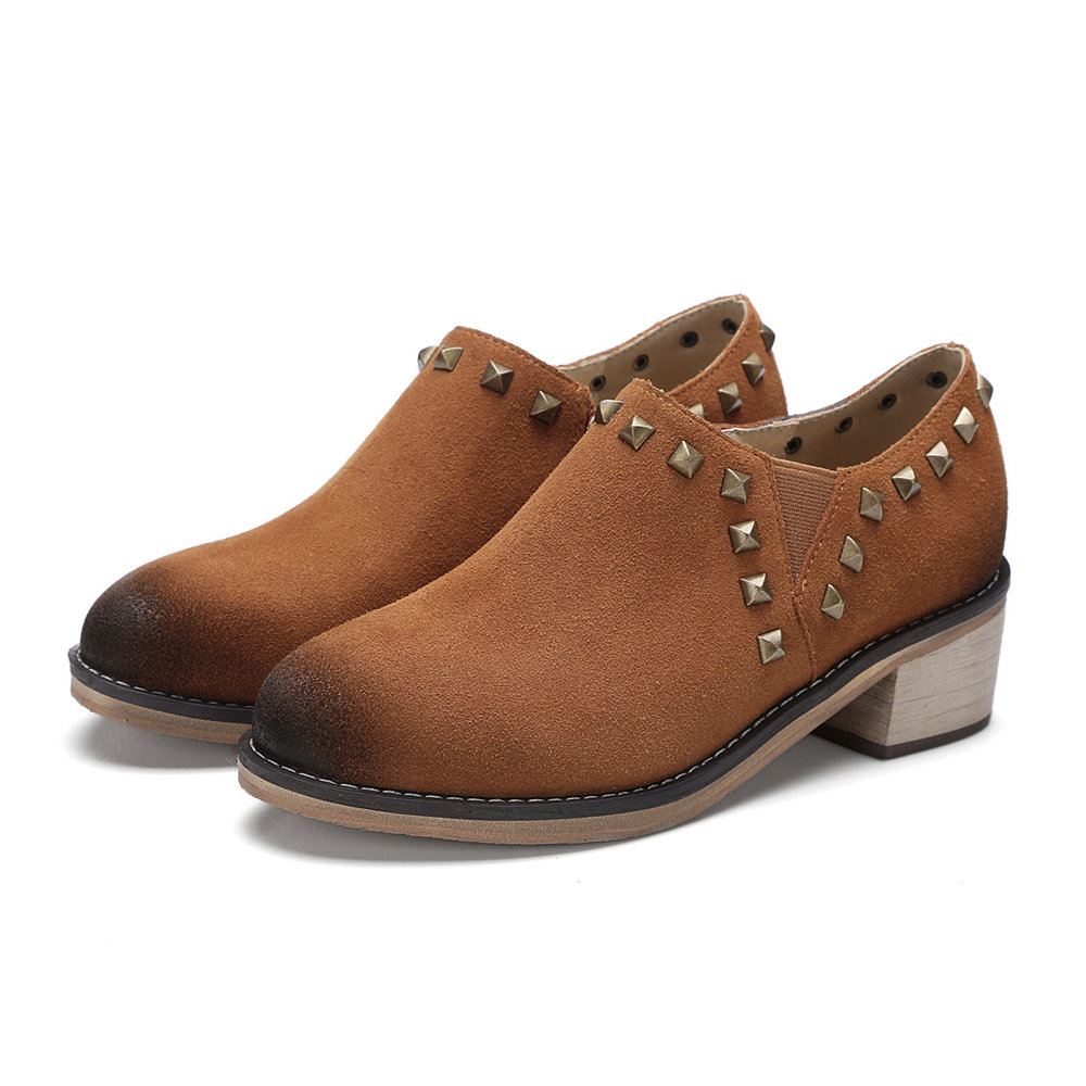 ФОТО Plus Large Size Genuine Cow Suede Women Pumps Block Low Medium Heel Round Toe Zipper Rivet Casual Dress Party Brown Ladies Shoes