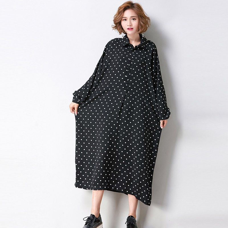 Plus size  women autumn polka dot lapel neck full sleeve boyfriend style loose blusas vestido casual long shirt dress