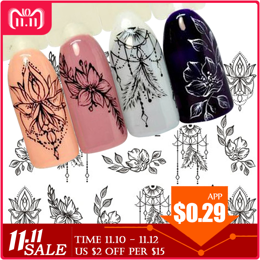 1 Sheet Jewelry Flower Water Decal Black Sticker For Nail Pattern Painting Wrap Paper Foil Tip Tattoo Manicure SASTZ766-778