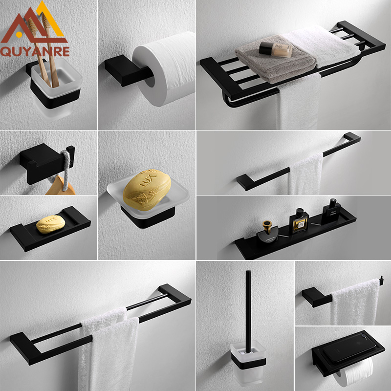 Buy Quyanre Matte Black Bathroom Hardware Set 304 Sus Stainless Steel Towel