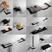 Quyanre Matte Black Bathroom Hardware Set 304 Sus Stainless Steel Towel Shelf Bar Paper Holder Hook Accessories