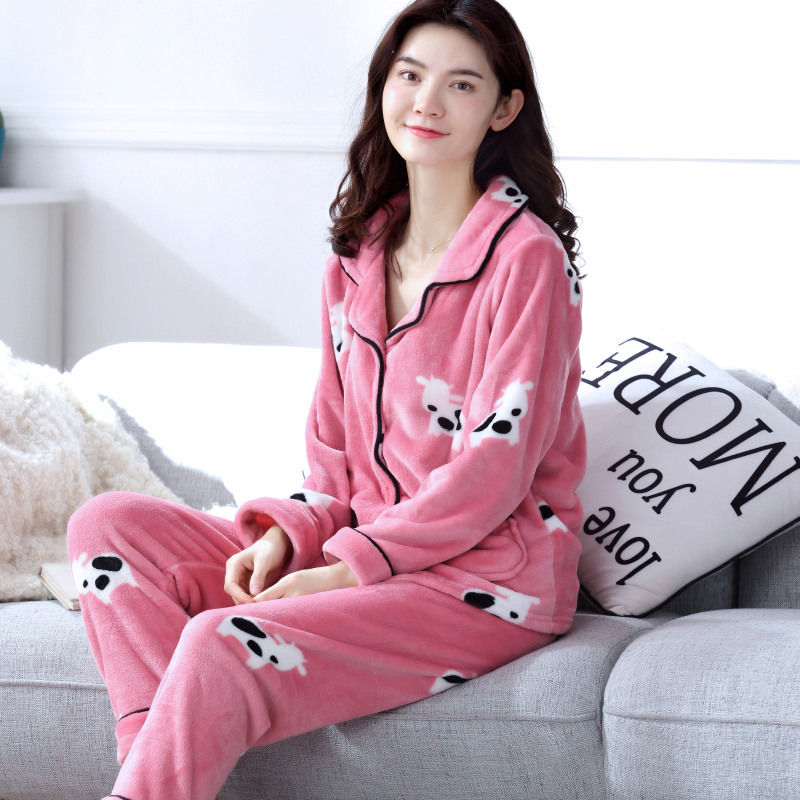 Winter Women Thick Pyjamas   Sets   Sleepwear Suit Coral Flannel Autumn nightgown Warm   Pajamas     Sets   Animal Homewear Pijama