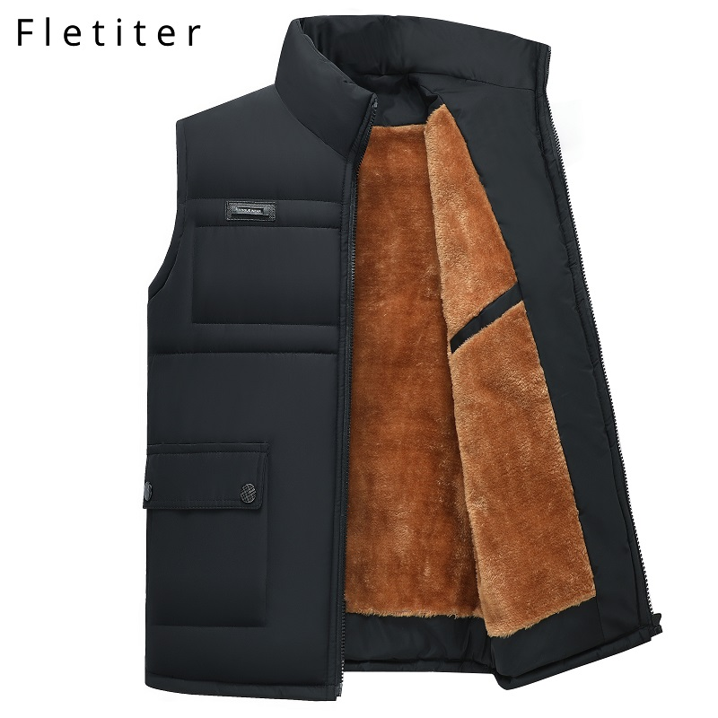 Fletiter Mens Down Vests Winter Jackets Waistcoat Men Fashion Sleeveless Solid Zipper Coat Overcoat Keep Warm Plus Size 4xl