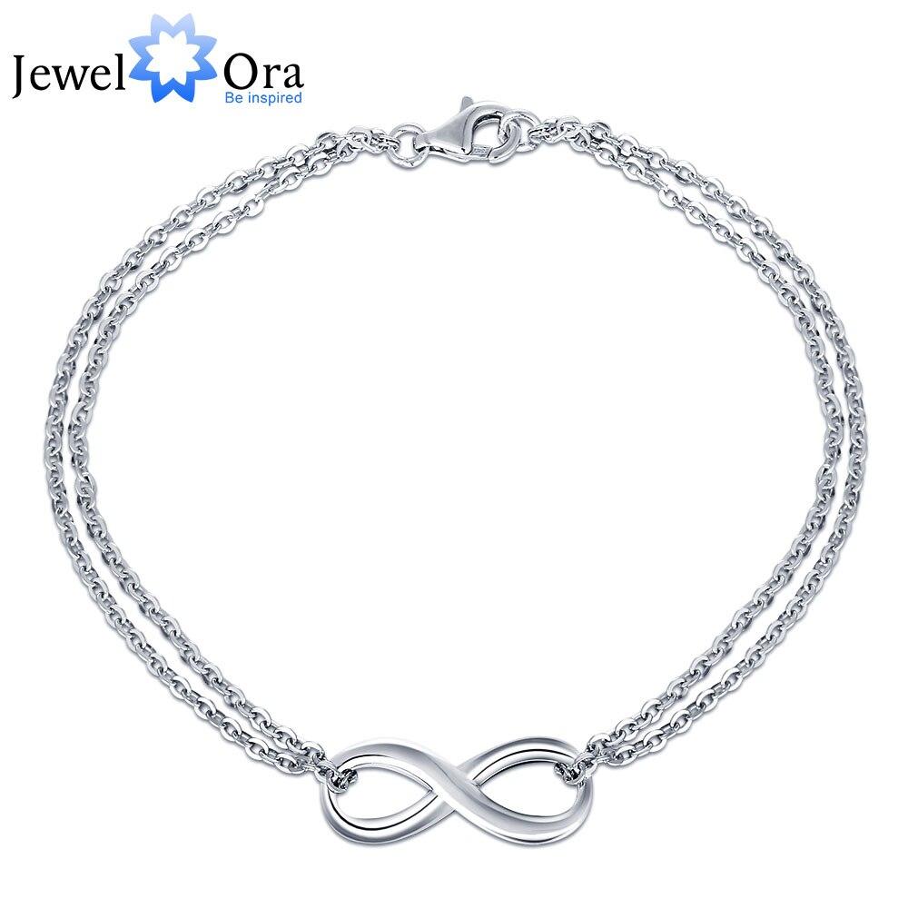 925 Sterling Silver Bracelets For Women Infinity Trendy Bracelets & Bangles Anniversary Gift for Women (JewelOra BA101278) 925 sterling silver infinity bracelets