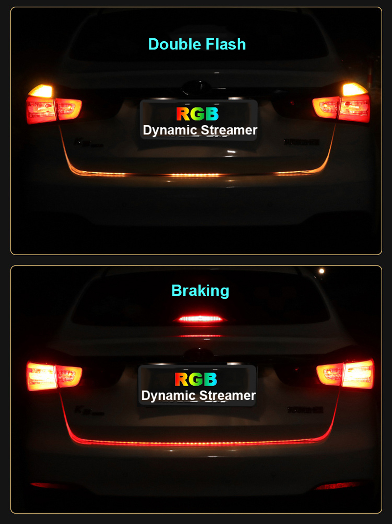 120cm car styling rgb led strip lighting rear trunk tail light rgb 120cm car styling rgb led strip lighting rear trunk tail light rgb dynamic streamer brake turn signal leds warning lights strips in signal lamp from aloadofball Image collections