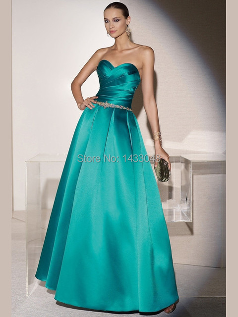 Draped Sweetheart Neckline Satin Jade Evening Gowns Gorgeous Beaded ...