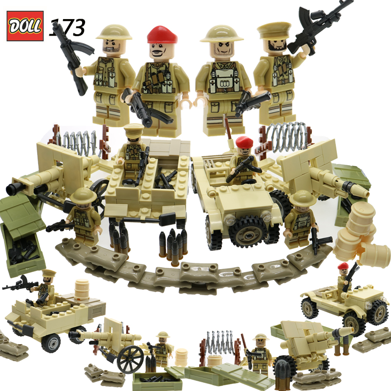WW2 Uk British The 8Th Army North African Campaign Mini Soldier Figure Military Model Building Blocks Brick DIY Toy For Children