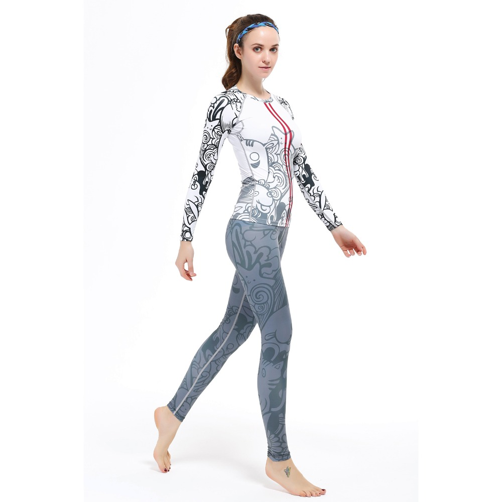2016 New Hot Yoga Suits Top&Pants Sets Womens Running Fitness Sports Tights Jumpsuit Bodysuit Print Jogging Tee&Legging