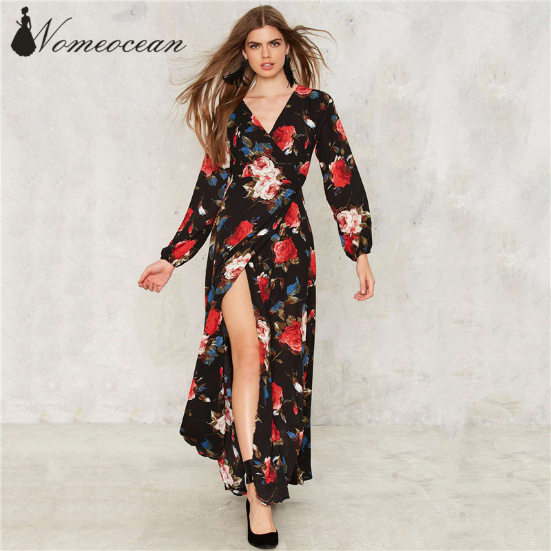 5c5c5642c19 Wrap Battle Floral Dress Empire Waist Crossed V-neck Maxi Dress 2017 Autumn Flower  Print Long Sleeve Brand Dress Black M17042513