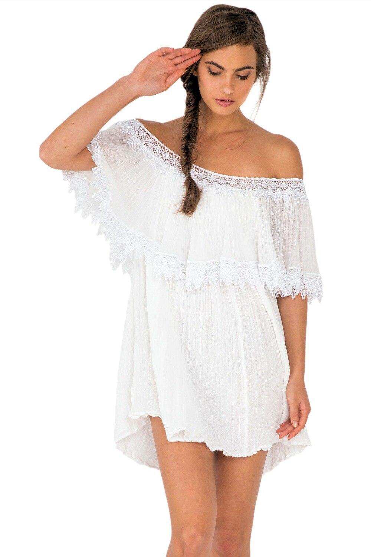 Ocasional del verano para ropa de playa Sexy blanco fuera del hombro