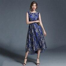 Summer Dress Women 2019 New Blue Print M-2XL Plus Size Lace Sleeveless Slim Fashion Sexy Chic Maxi Vestidos Feminina LR159
