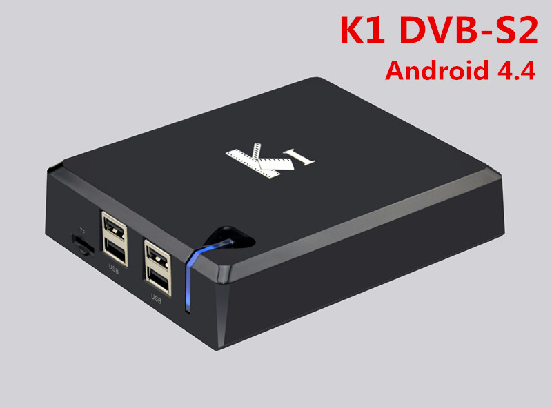 K1 Android DVB-S2 Android 4.4 Amlogic S805 Quad Cor TV BOX  Satellite Receiver Support CCcam NEWcam XBMC ADD-ONS Pre-installed i box rs232 dvb s satellite smart sharing nagra 3 dongle black