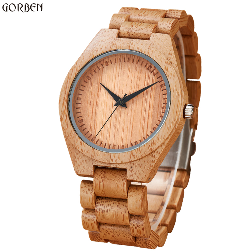 2017 Gorben Luxury Brand New Wood Watch Men Analog Natural Bamboo Quartz Movement Male Wristwatches Gift Clock Relogio Masculino потолочная люстра idlamp 818 8pf whitechrome