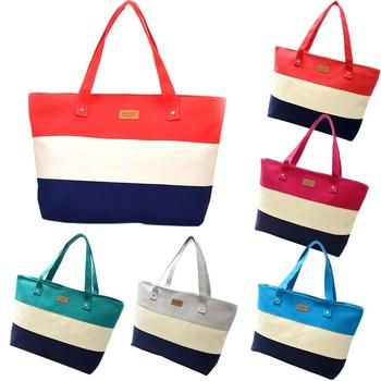Fashion Lady Shopping Striped Random Shoulder Canvas Bag Tote Purse Bag Handbags Beach Ladies Messenger Simple Handbag