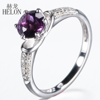 HELON Твердые 10 К белого золота безупречный круглый 1.16ct Аметист Diamonds Кольцо для Для женщин Обручение Свадебные Мода ювелирные изделия