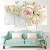 4 أجزاء الطباعة قماش جدار الفن الجميل الورود الديكور النفط الطلاء الصور على وحدات قاعة الجدار لا الإطار
