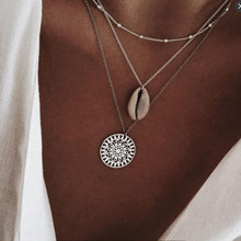 New hot fashion bohemian retro charm necklace silver round pendant shell jewelry ladies gift box set simple