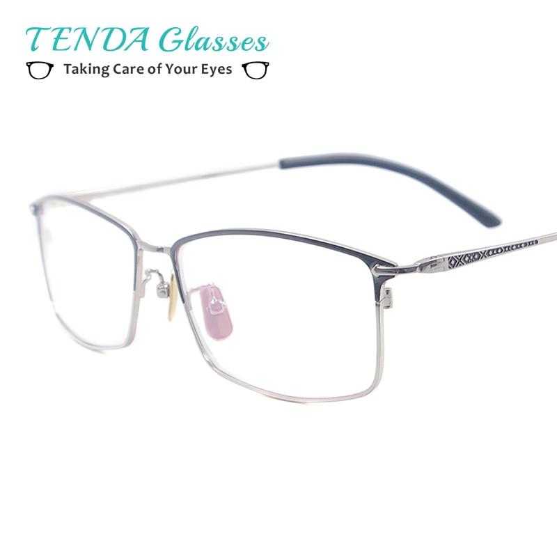 ebcdb5c4c الرجال كبير مستطيل النظارات كامل حافة معدنية الأزياء نظارات لقصر النظر  قراءة الوصفة العدسات متعدد البؤر