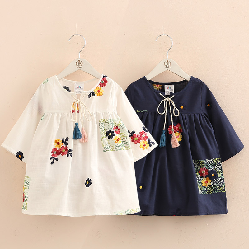 2018 Spring Attumn New Arrival 2-10T Children Kids Clothing Blue White Color Long Tops Baby Girls Tassels Loose   Blouses     Shirt
