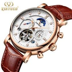 KINYUED faza księżyca Top marka męskie zegarki mechaniczne automatyczne Tourbillon szkieletowy zegarek mężczyźni kalendarz Relogio Masculino dropship w Zegarki mechaniczne od Zegarki na