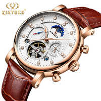 KINYUED ムーンフェイズトップブランドメンズ機械式時計自動トゥールビヨンスケルトン腕時計メンズカレンダーレロジオ masculino のドロップシップ