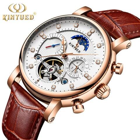 Fase da Lua Mecânicos dos Homens Kinyued Marca Superior Relógios Automático Turbilhão Esqueleto Relógio Masculino Calendário Dropship